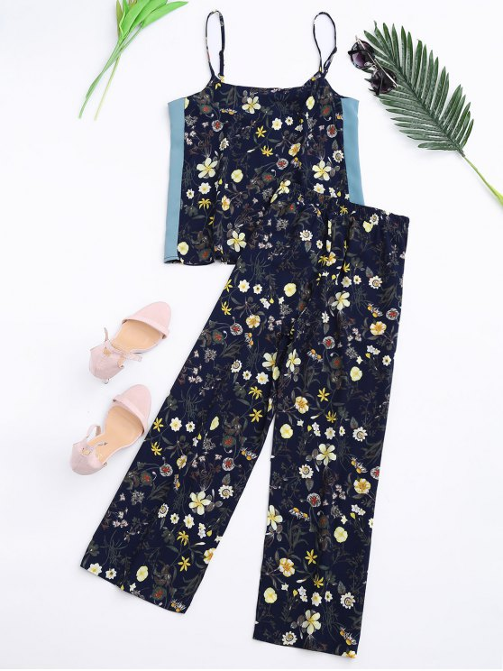 Floral Tank Top and Pants With Stripe - CADETBLUE L Mobile