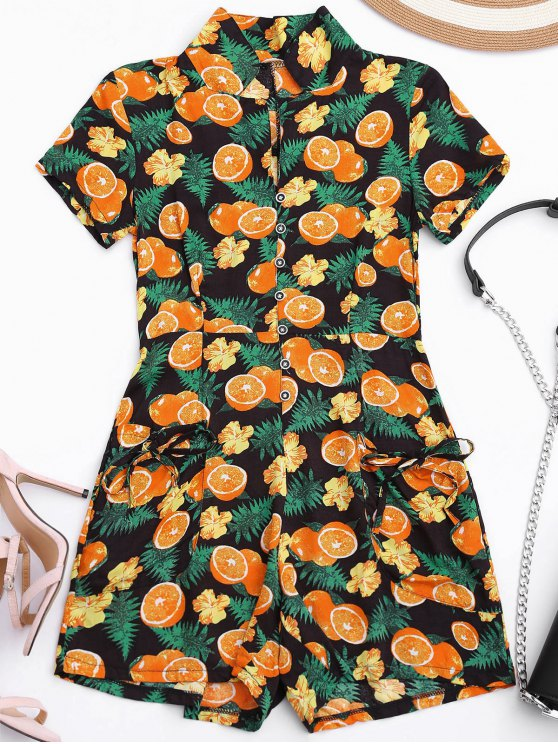 lady Orange Print Buttoned Romper With Pockets - COLORMIX XL