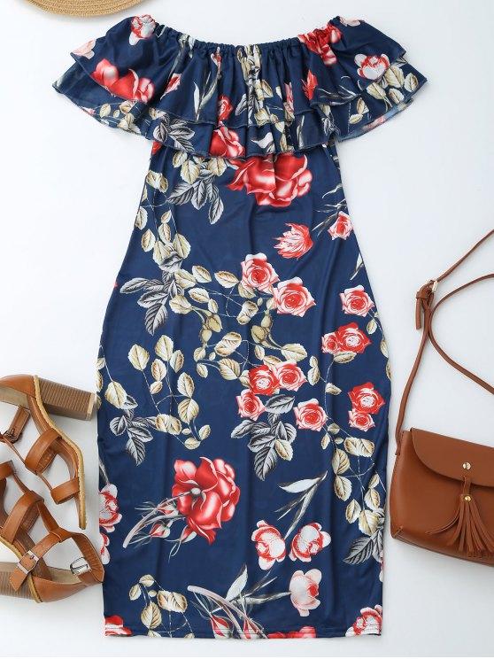 online Off Shoulder Ruffle Floral Sheath Dress - FLORAL M