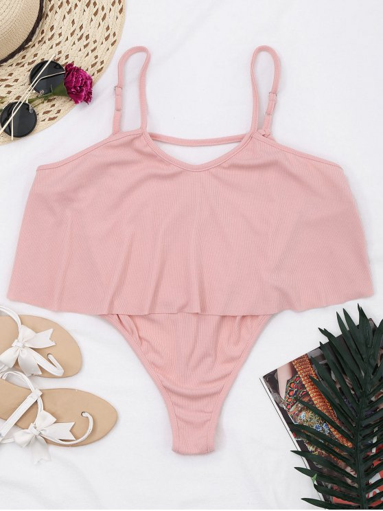 outfit Cami Ribbed Ruffles Bodysuit - PINK XL