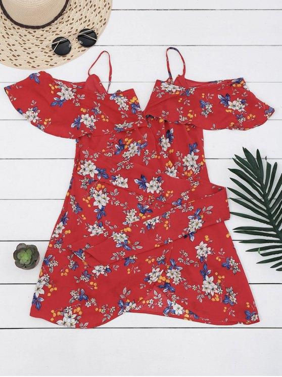 Floral Mini vestido de hombro frío - Floral S