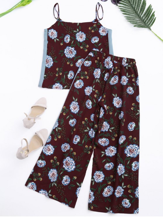 Floral Tank Top and Pants With Stripe - WINE RED L Mobile