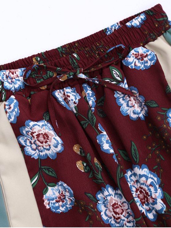 Floral Tank Top and Pants With Stripe - WINE RED M Mobile