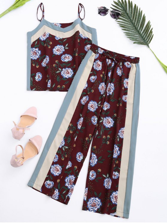outfits Floral Tank Top and Pants With Stripe - WINE RED S