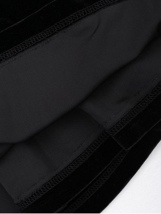 Criss Cross Strappy Slip Velvet Dress - BLACK L Mobile