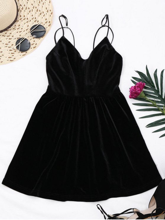 latest Criss Cross Strappy Slip Velvet Dress - BLACK L