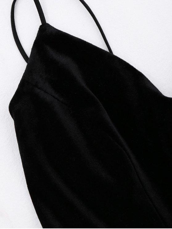 Criss Cross Strappy Slip Velvet Dress - BLACK S Mobile