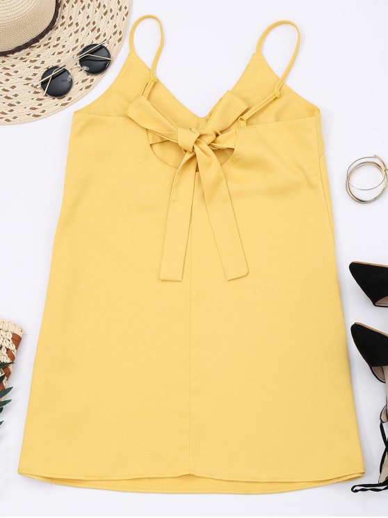 Slip Bowknot Cut Out Mini Dress - YELLOW 2XL Mobile