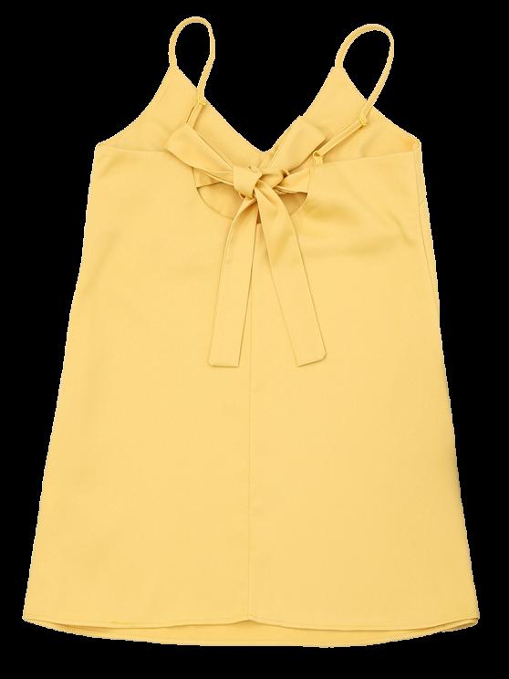 Slip Bowknot Cut Out Mini Dress - YELLOW L Mobile