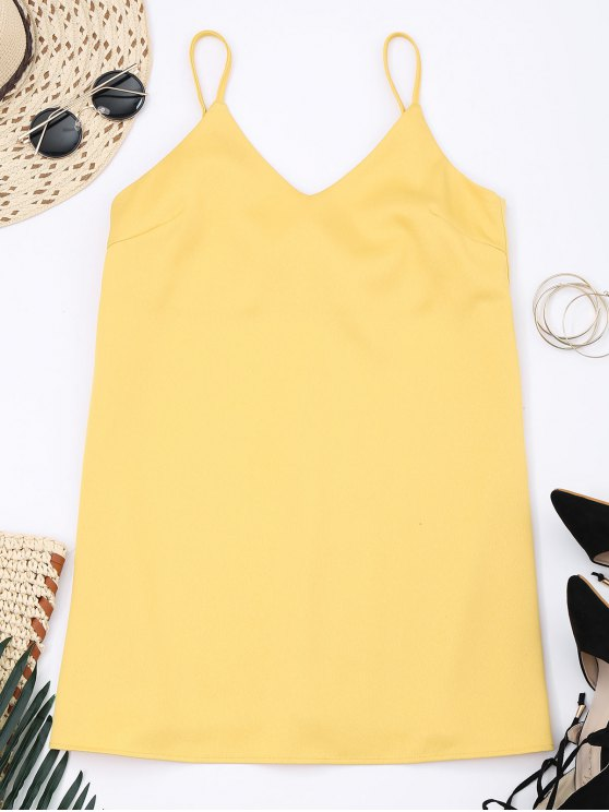 sale Slip Bowknot Cut Out Mini Dress - YELLOW M