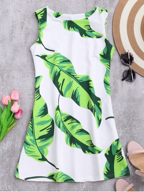 buy Sleeveless Tropical Leaf Print Dress - WHITE L