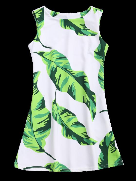 Sleeveless Tropical Leaf Print Dress - WHITE L Mobile