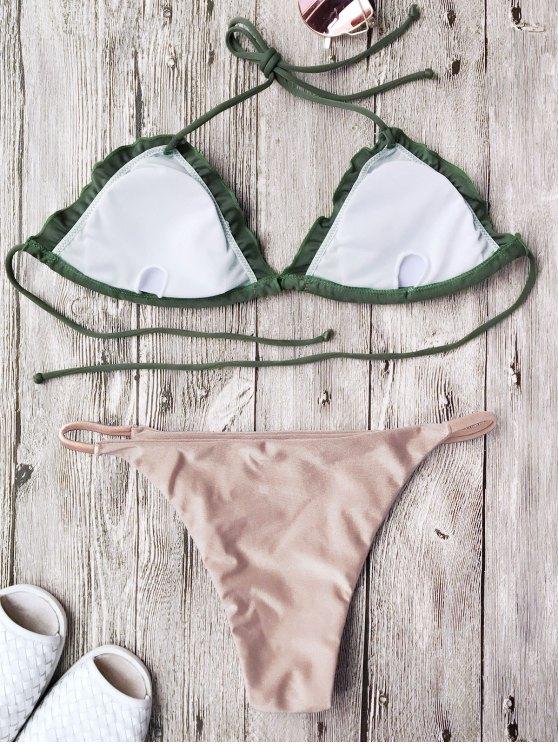 Frilled Padded String Bikini Set - PINK M Mobile