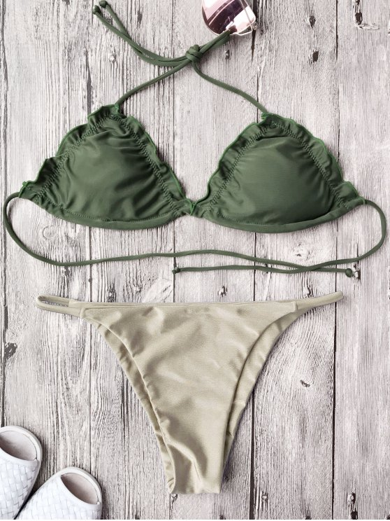 lady Frilled Padded String Bikini Set - KHAKI XL