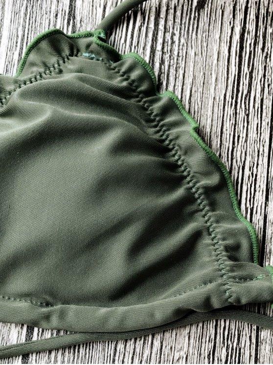 Frilled Padded String Bikini Set - KHAKI L Mobile
