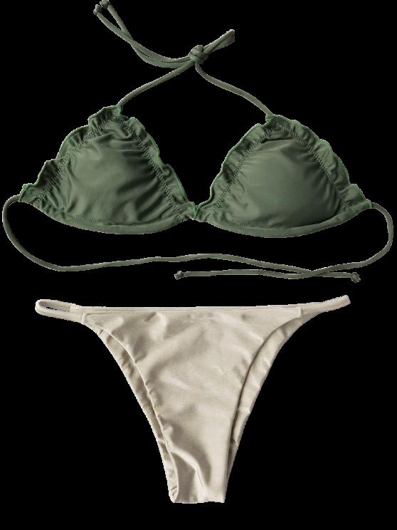 Frilled Padded String Bikini Set - KHAKI M Mobile