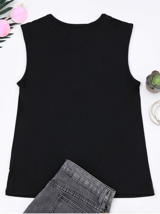 Cotton Letter Totem Tank Top - BLACK M Mobile