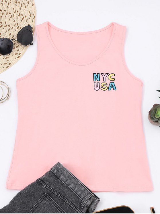fancy Printed Letter Embroidered Cotton Tank Top - PINK S