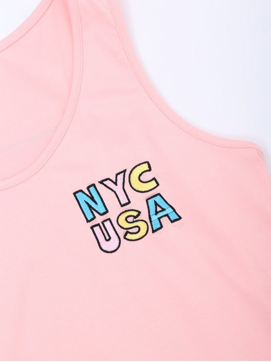 Printed Letter Embroidered Cotton Tank Top - PINK S Mobile