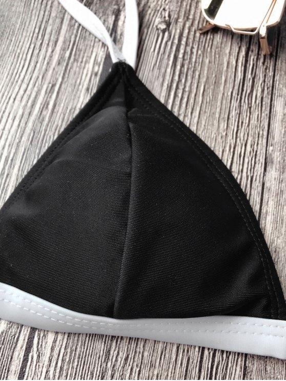 Two Tone String Bikini Top and Bottoms - BLACK L Mobile