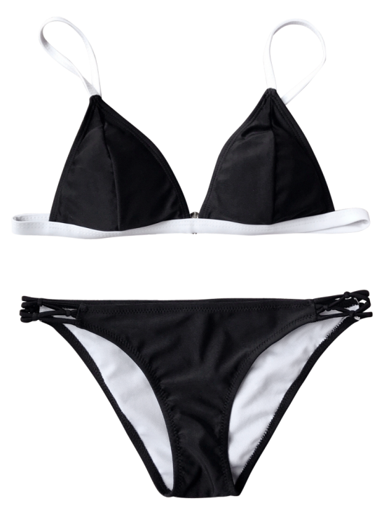 Two Tone String Bikini Top and Bottoms - BLACK XL Mobile