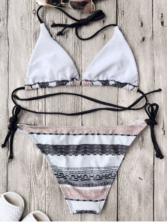 Chevron Mix Print String Bikini Set - WHITE S Mobile