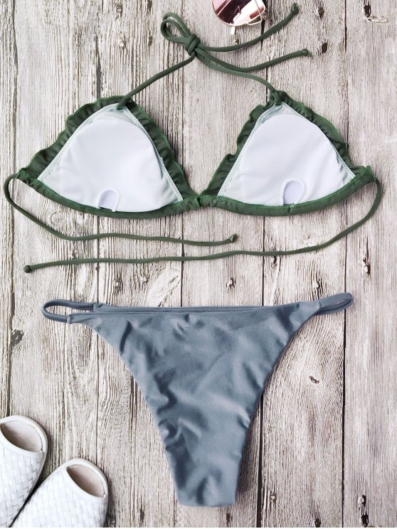 Frilled Padded String Bikini Set - BLUE L Mobile