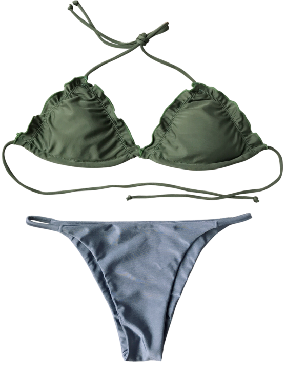 Frilled Padded String Bikini Set - BLUE S Mobile