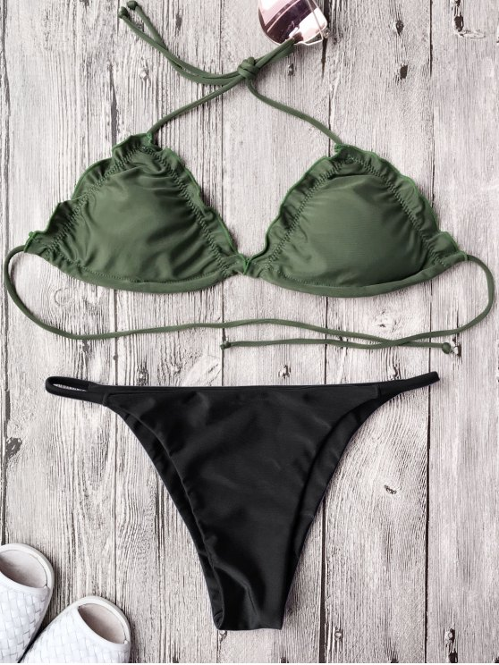 fashion Frilled Padded String Bikini Set - BLACK L