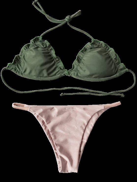 Frilled Padded String Bikini Set - PINK L Mobile