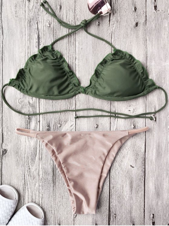 sale Frilled Padded String Bikini Set - PINK L