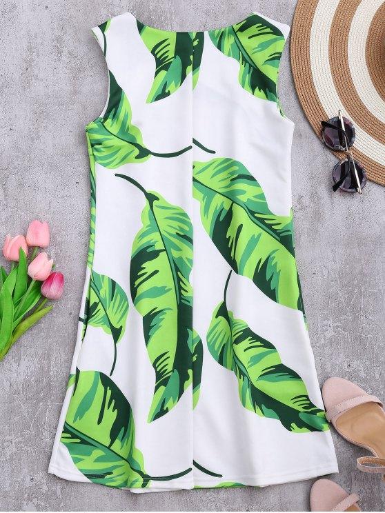 Sleeveless Tropical Leaf Print Dress - WHITE M Mobile