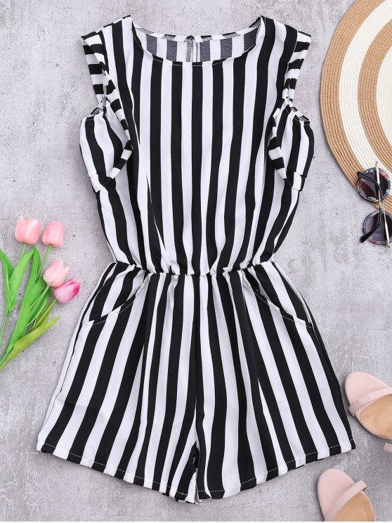 women Sleeveless Striped Romper With Pockets - STRIPE M