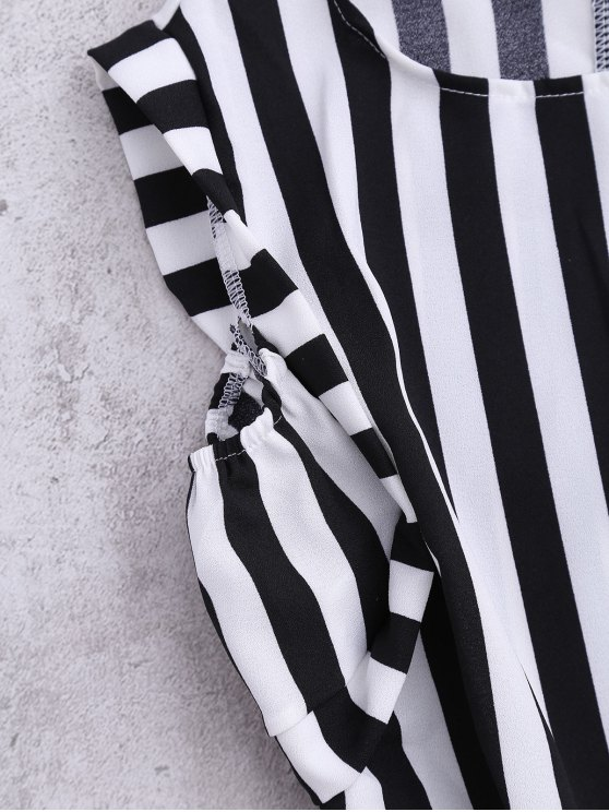Sleeveless Striped Romper With Pockets - STRIPE L Mobile
