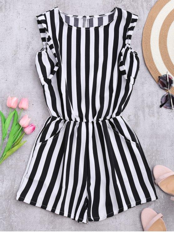 ladies Sleeveless Striped Romper With Pockets - STRIPE XL