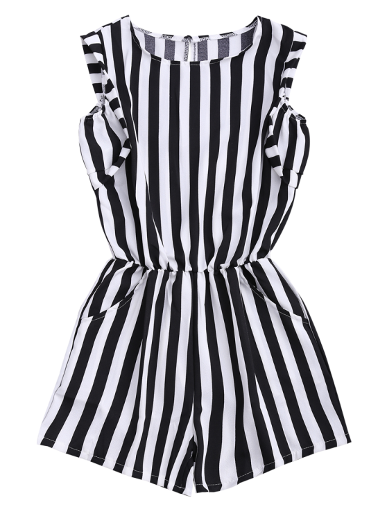 Sleeveless Striped Romper With Pockets - STRIPE XL Mobile