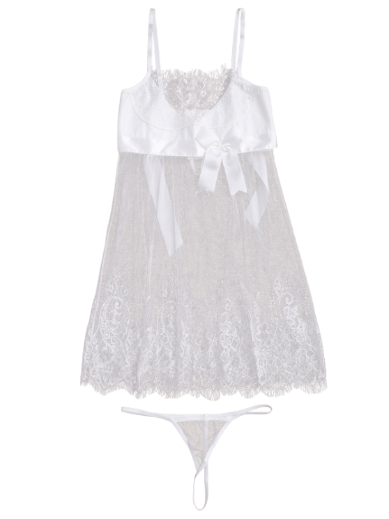 Mesh Bowknot Lace Babydoll with Thong Panties - WHITE XL Mobile