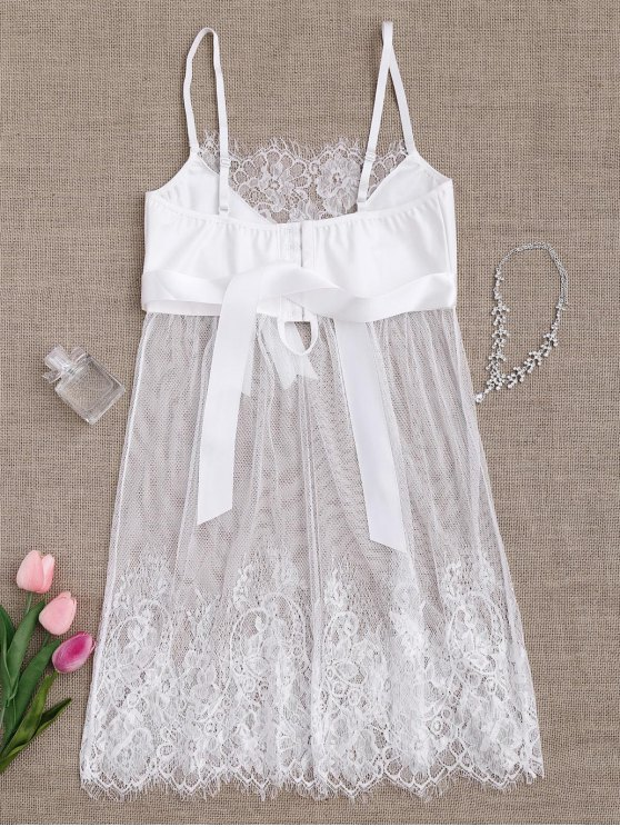 Mesh Bowknot Lace Babydoll with Thong Panties - WHITE L Mobile