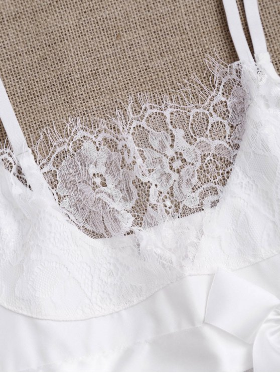 Mesh Bowknot Lace Babydoll with Thong Panties - WHITE S Mobile
