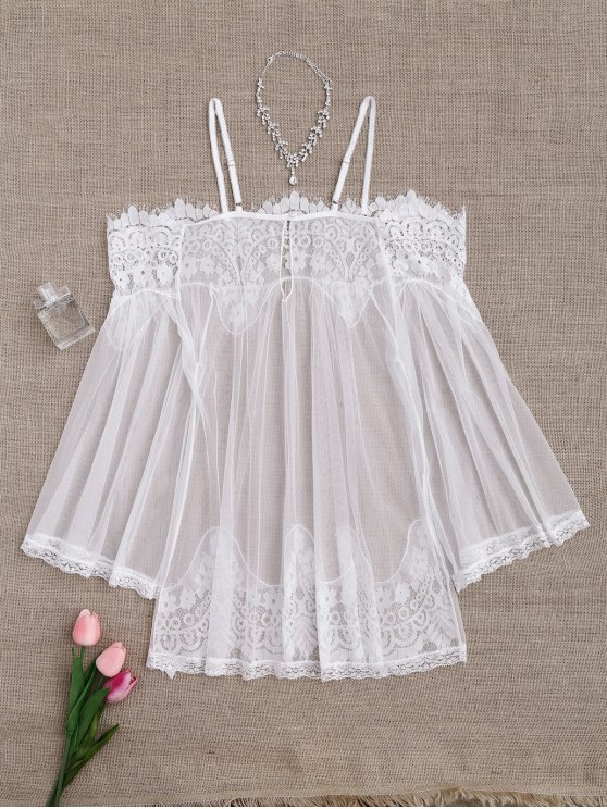 Mesh Cami Lace Panel Babydoll with Panties - WHITE ONE SIZE Mobile