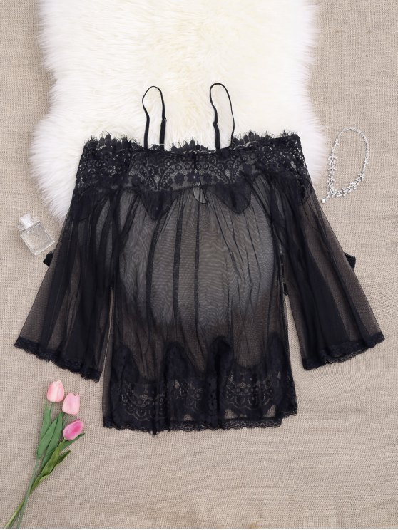 Mesh Cami Lace Panel Babydoll with Panties - BLACK ONE SIZE Mobile