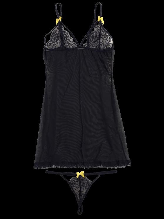 Mesh Lace Panel Babydoll with Thong Panties - BLACK M Mobile