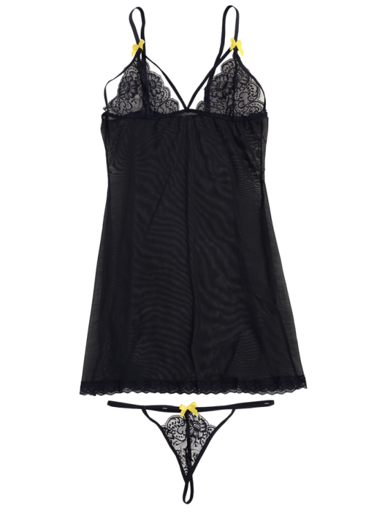 Mesh Lace Panel Babydoll with Thong Panties - BLACK S Mobile