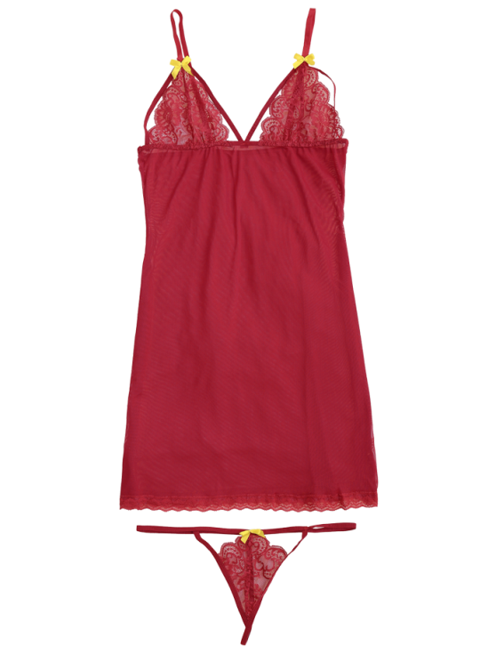Mesh Lace Panel Babydoll with Thong Panties - RED L Mobile