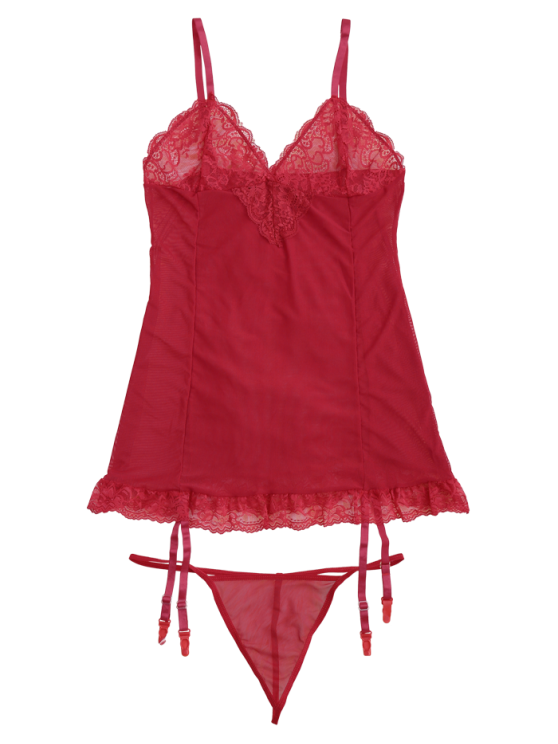 Cami Lace Panel Babydoll with Thong Panties - RED L Mobile
