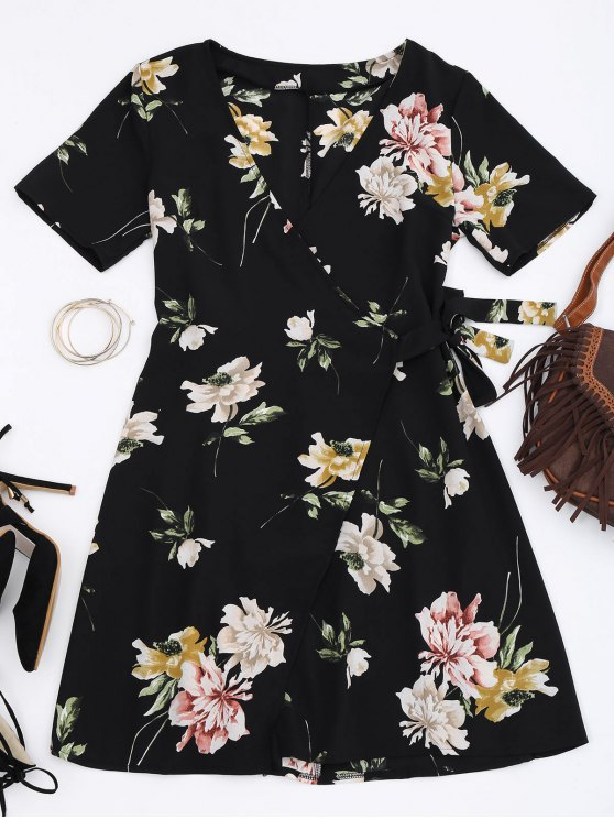 Mini vestido de abrigo floral - Floral S