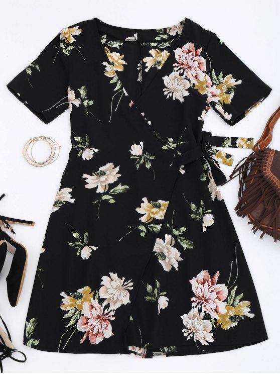 outfits Mini Floral Wrap Dress - FLORAL M