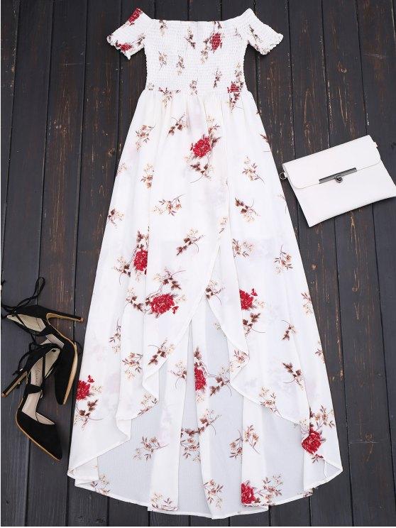 قبالة الكتف الزهور شيريد غير المتماثلة فستان ماكسي - أبيض S