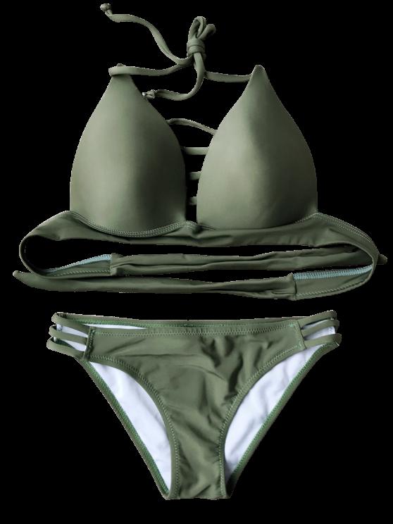 Fuller Bust Molded Cups Bikini Set - ARMY GREEN XL Mobile