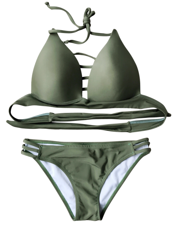Fuller Bust Molded Cups Bikini Set - ARMY GREEN L Mobile